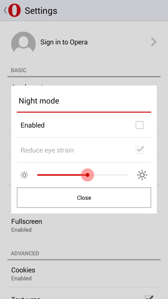 Fitur Night Mode Opera Mini